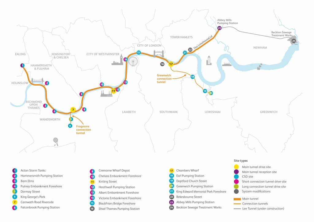 Proposed tunnel route (c) Times Tideway Tunnel