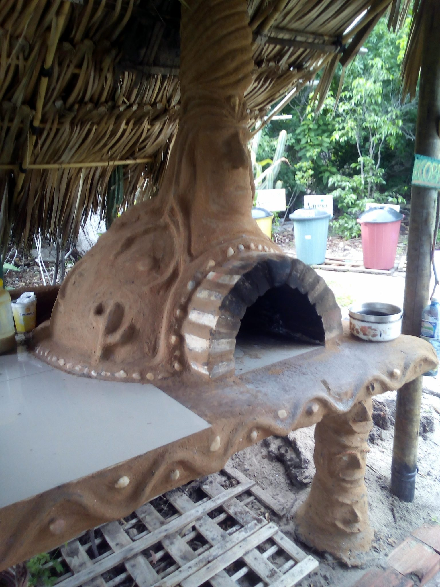 The pizza oven heats up to 300 degrees Celsius.