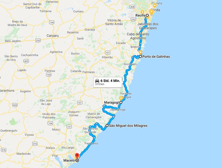 Screenshot Autoroute Recife nach Maceió