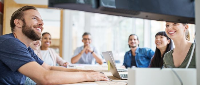 Group of business people in video conference meeting. Multi-ethnic business people watching a webinar